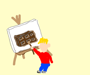 Little boy making chocolate art on easel