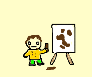 Kid painting with bar of chocolate