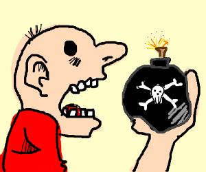 Man eating live bomb