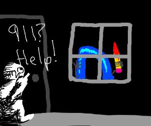 """""""911? Drawception D is at my door! HELP!"""""""