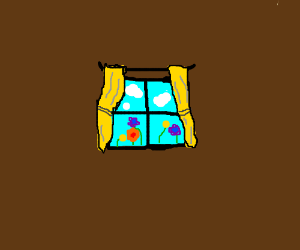 Window teal background yellow curtains,flowers