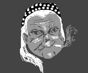 weird grandma face drawing by thatcat