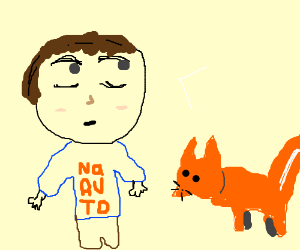 anime dude and pet fox