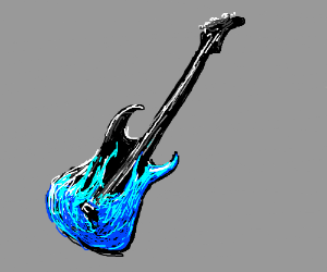 Cool Black Guitar W Blue Fire Painted On It