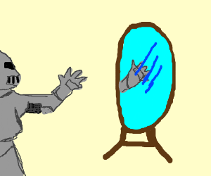 knight in armor looks at hand mirror