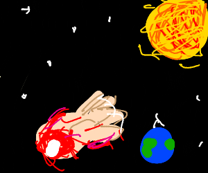 bloody hand in the vast darkness of space - Drawception