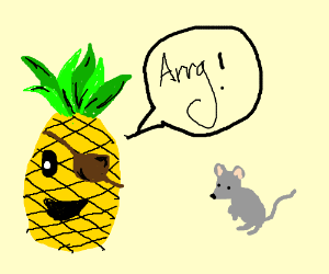 pirate pineapple drawn with mouse