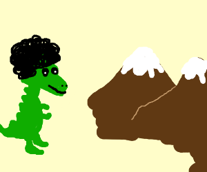 a chibi dino with an afro