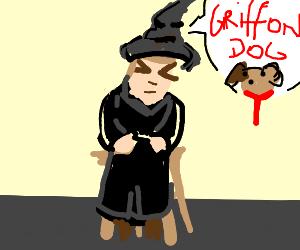 "Dog Being Sorted ""Gryffindog"" by Sorting Hat"