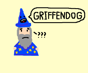 wizard is confused by hat saying griffondog