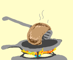 Frying Pan On A Burning Stove