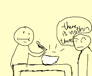 Strange man eats invisible cereal