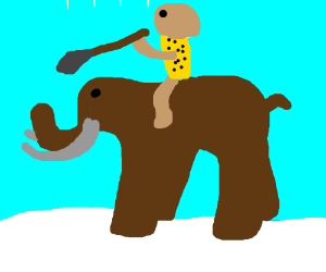 caveman on a mammoth