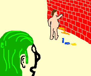 Green haired dude watching a man pee
