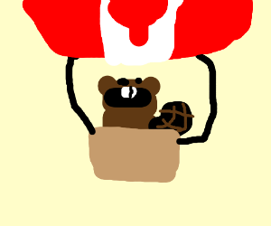 Canadian beaver in a hot air baloon