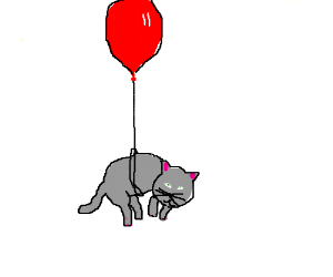 Kitten tied to a red balloon