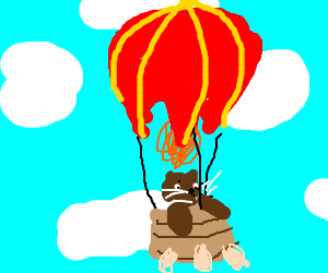cat flying on a balloon
