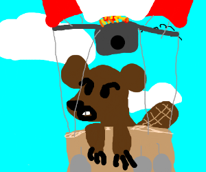 Weasel/Bear/Beaver w whiskers on hot air baloo