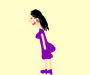 a girl with a big butt in a purple dress