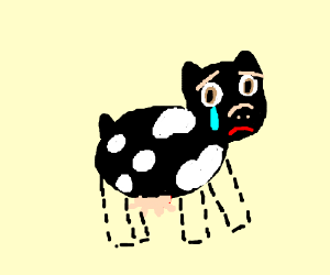 cow sad he has no legs