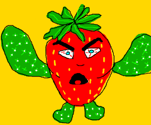 An angry strawberry with cacti limbs