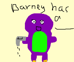 Sad Alcoholic Barney or Sad Barney with Pistol