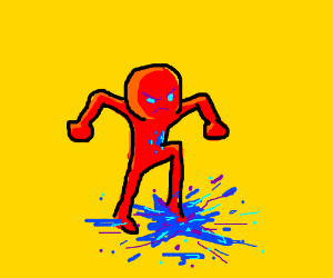 red man crushes blue thing because he mad