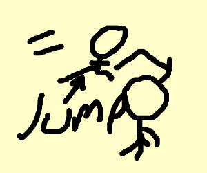 man hurdling