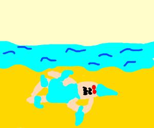 Shark/Human Hybrid Sleeping on the Hot Beach