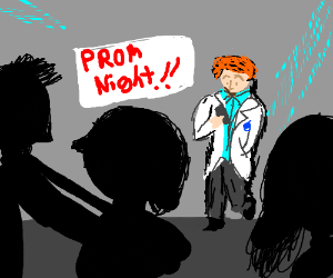 Boy in white tux is bored at prom