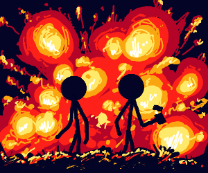 Cool white stickfigures dont look @ explosions