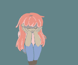 Depressed pink haired anime girl