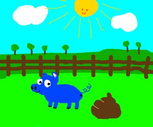 blue pig walks next to a poop