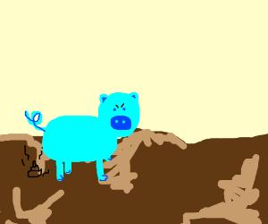 a blue pig took poo