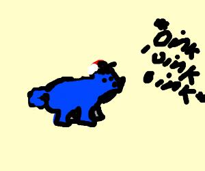 A bluuuue pig with a cap