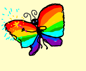 Pink, red, orange, blue, and green butterfly