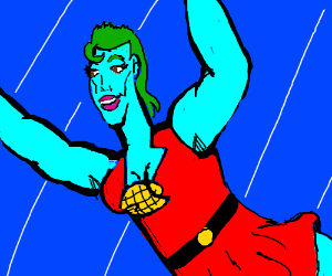 Captain Planet but as a buff lady.