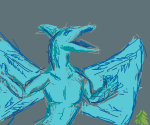 a blue dragon comes outta trees and breathes