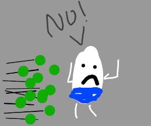 HumptyDumpty is shoved of wall by green balls