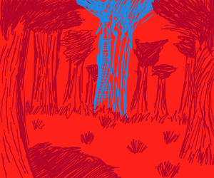 the red forest has a blue tree in it