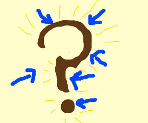 A brown question mark