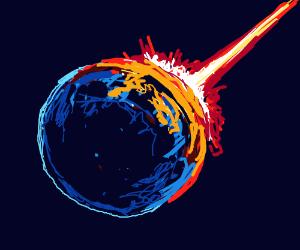 A meteor crashing into the earth