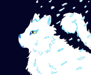 white cat dissolving in squares