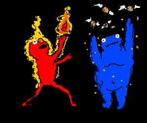 elmo and cookie monster are elemental masters