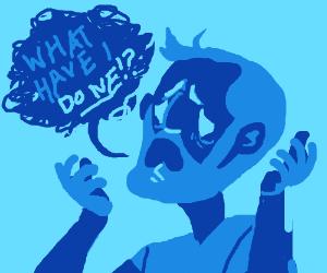 Bearded blue man has horrifying realization