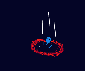 Blue guy falls through time-space