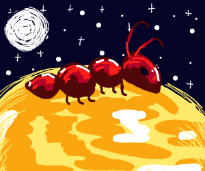 Giant ant on a yellow planet