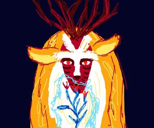 A deer spews healing magic on a wilted flower