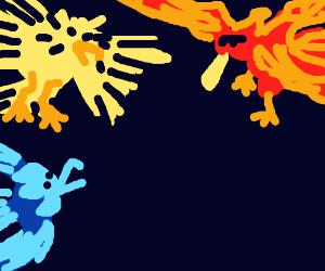 Two elemental birds