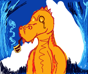 Orange dragon smokes a pipe in his icy lair